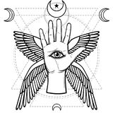 Mystical symbol: human hand, Eye of Providence, sacred geometry. Esoteric, religion, occultism. Vector illustration isolated on a white background. Print royalty free illustration