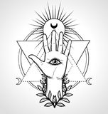 Mystical symbol: human hand, Eye of Providence, sacred geometry. Esoteric, religion, occultism. Vector illustration isolated on a gray background. Print royalty free illustration