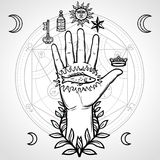 Mystical symbol: human hand, sacred geometry. Alchemical circle of transformations. Vector illustration isolated on a gray background. Print, poster, t-shirt royalty free illustration