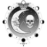 Mystical symbols: the moon and month in the form of human skulls.Sacred geometry. Alchemy, magic, esoteric, occultism. Vector illustration on a white royalty free illustration