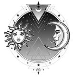 Mystical symbols: sun and moon in an image of the man and woman.Sacred geometry. Alchemy, magic, esoteric, occultism. Vector illustration  on a white Stock Image