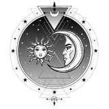 Mystical symbols: sun and moon in an image of the man and woman. Sacred geometry. Alchemy, magic, esoteric, occultism. Vector illustration isolated on a white Royalty Free Stock Photo