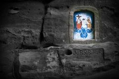 Mystical Wayside Shrine Carved in Sandstone Royalty Free Stock Photo