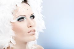 Mystical winter beauty. Portrait of mystical winter beauty with strasses and white feather hat Stock Image