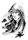Mystical wizard in a hood. The serious mystical wizard with a white hear in a hood severely looks at you, having blinked a look1 royalty free illustration