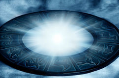 Mystical zodiac. Zodiac with beautiful astrological symbol and mystical star light stock photos