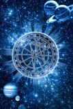 Mystical zodiac. In ring of light over starry background with planets royalty free illustration