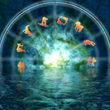 Mystical zodiac. Astrology illustration with zodiac signs reflected in water Stock Photos