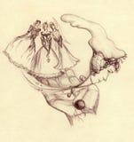 mysticen gömma i handflatan kvinnor för bild tre stock illustrationer