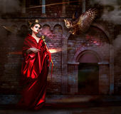 Mysticism.  Witchcraft. Sorcerer in Red Mantle with Vulture - Hawk. Ancient Scary Castle Stock Image