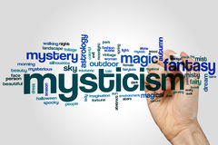Mysticism word cloud. Concept on grey background Stock Image