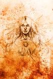 Mysticus die vrouw mediteren Potlood dat op oud document trekt royalty-vrije illustratie