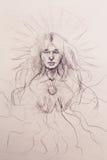 Mysticus die vrouw mediteren Potlood dat op oud document trekt stock illustratie