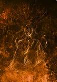 Mysticus die vrouw mediteren Potlood dat op oud document trekt vector illustratie
