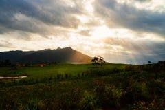 Mysticusberg met boom en zonnestraal stock afbeelding