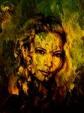 Mysticusvrouw met ornament op gezicht Potlood dat op oud document trekt stock foto
