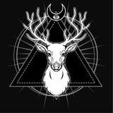 Mystiek beeld van het hoofd van een gehoornd hert, heilige meetkunde, symbolen van de maan stock illustratie