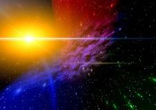Mystiek licht in ruimte. stock illustratie