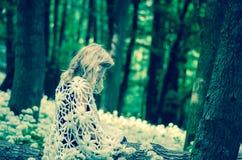 Mystiek meisje in donker hout Stock Foto's