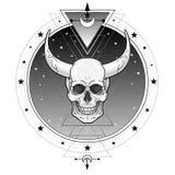 Mystiek symbool: duivelse gehoornde schedel, sterhemel Heilige Meetkunde vector illustratie
