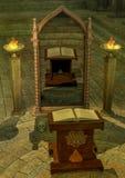 Mystieke spiegel met een magisch altaar Stock Afbeelding