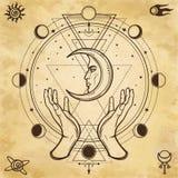 Mystieke tekening: de menselijke handen houden de maan Heilige Meetkunde royalty-vrije illustratie