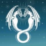 Mystieke tekening: dubbele witte draak, Uroboros, een slang met twee hoofden vector illustratie