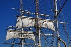 Mystiker, CT: Segel und Maste von Walfang-Schiff 1841 lizenzfreie stockfotografie