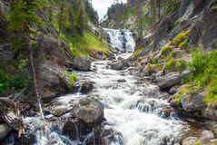 Mystiker faller, längs den lilla Firehole floden, den Yellowstone nationalparken Fotografering för Bildbyråer
