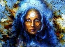 Mystikerframsidakvinnor, med strukturen knastrar bakgrundseffekt, med stjärnan på pannan, collage Ögonkontakt royaltyfri illustrationer