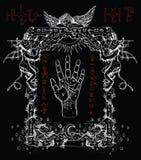 Mystikerramen med kiromanti gömma i handflatan, demoner och ängeln vektor illustrationer