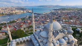 Mystique Suleymaniye Mosque from the sky, aerial view of Istanbul city, Golden Horn, Turkey.