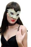 Mystirious Frau in der venetianischen Schablone Lizenzfreie Stockfotografie