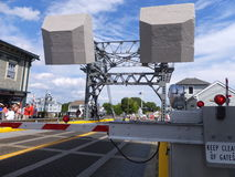 Mystische Fluss-Klappbrücke im Mystiker, Connecticut stockbilder