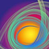Mystische grüne und blaue Rauchfaserspirale auf violettem und gelbem Hintergrund Stockbild