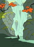 Mystische Landschaft mit Wasserfall