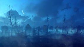 Mystische Nacht an verlassenem altem gespenstischem Kirchhof stock abbildung
