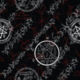 Mystische nahtlose Illustration mit Sternzeichen und geheimnisvollen Symbolen auf Schwarzem stock abbildung