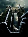 Mystische Ruine mit dem Schädel Stockbild