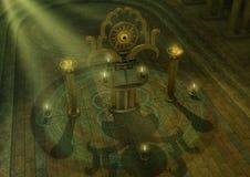Mystische sonderbare Altareinfassung durch Schädel und Kerzen Lizenzfreies Stockfoto