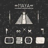 Mystische Zeichen der Gestaltungselemente und Symbole des Mayas Lizenzfreie Stockbilder