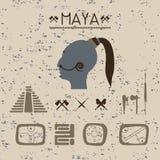 Mystische Zeichen der Gestaltungselemente und Symbole des Mayas Stockfoto