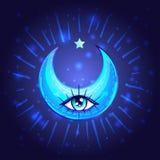 Mystischer Crescent Moon mit einem Auge in der Anime- oder mangaart Hand- lizenzfreie abbildung