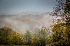 Mystischer Nebel in den Bergen Stockfoto