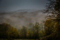 Mystischer Nebel in den Bergen Lizenzfreie Stockbilder