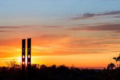 Mystischer Sonnenuhr-Sonnenuntergang Stockbild