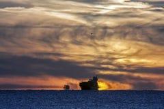 Mystischer Sonnenuntergang auf der Ostsee Stockfotografie