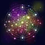 Mystisches Geometriesymbol auf Raumhintergrund Stockbild