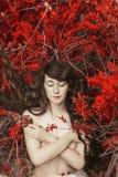Mystisk bild av en härlig kvinna i trän Ensam mystisk flicka på bakgrund av den lösa naturen Kvinna i sökande av henne Arkivfoton