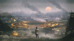 Mystisk cirkel i apokalypsstad royaltyfri illustrationer